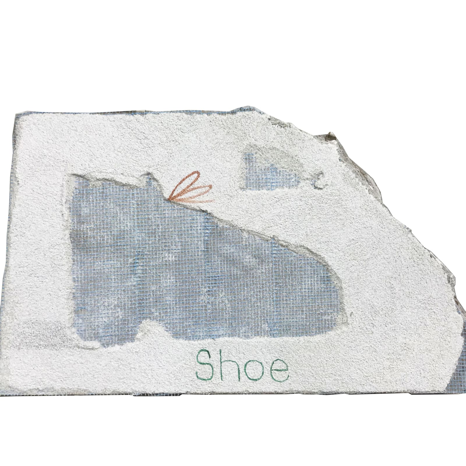 Mariel Capanna  Shoe, 2019  Lime plaster, earth pigment, watercolor and pencil on drywall  9 1/2 x 16 3/4 in (24.1 x 42.5 cm)