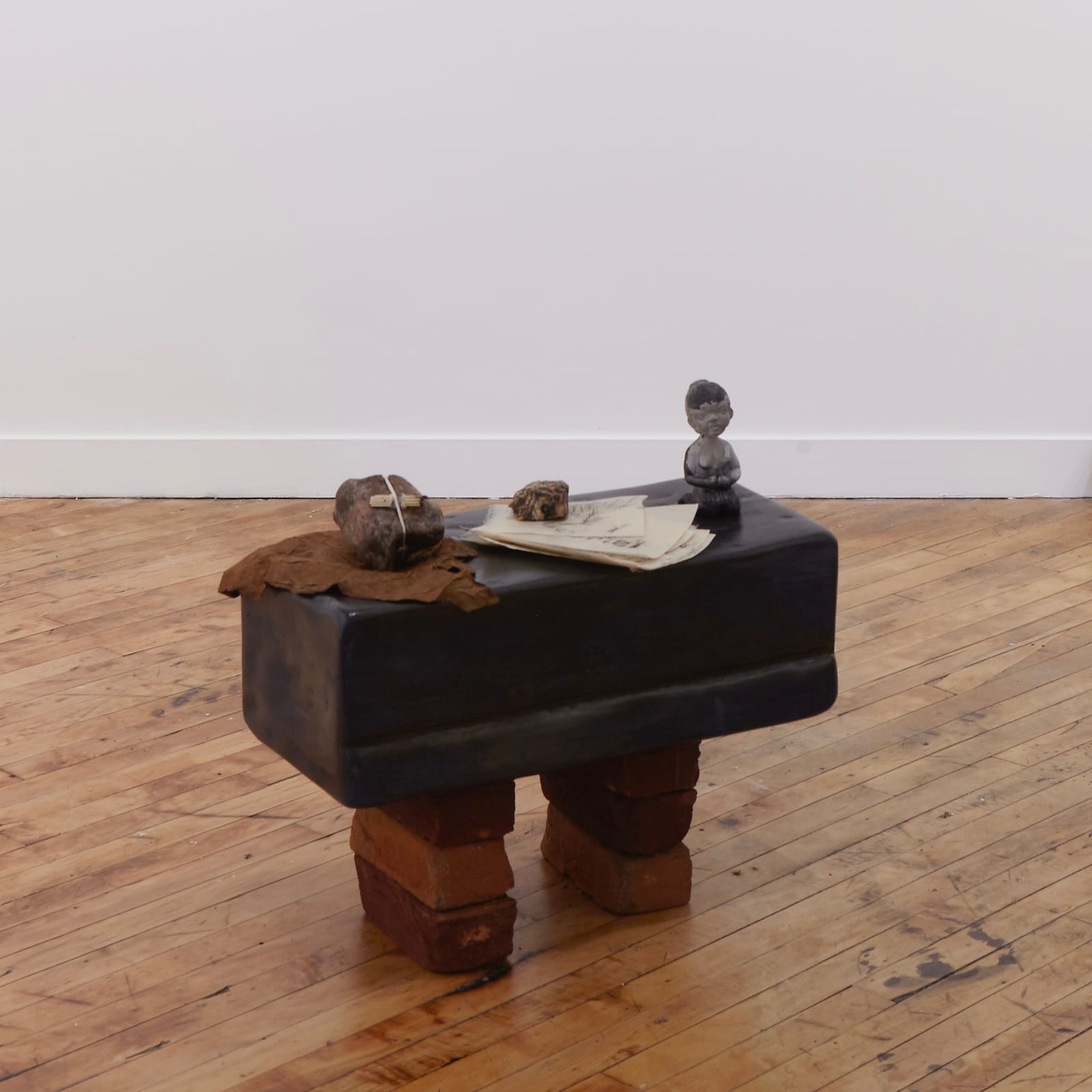 Michael Demps  I Made A Promise To The River: Acknowledgement and Gratitude, 2019  Wood, Wood Stain, Candle wax, Piezo Electric Crystals (Rochelle Salt), Paper, Graphite, Tobacco, Plaster, Granite, Cotton, Matches, Handmade Bricks  23 x 24 x 12 in (58.4 x 61 x 30.5 cm)