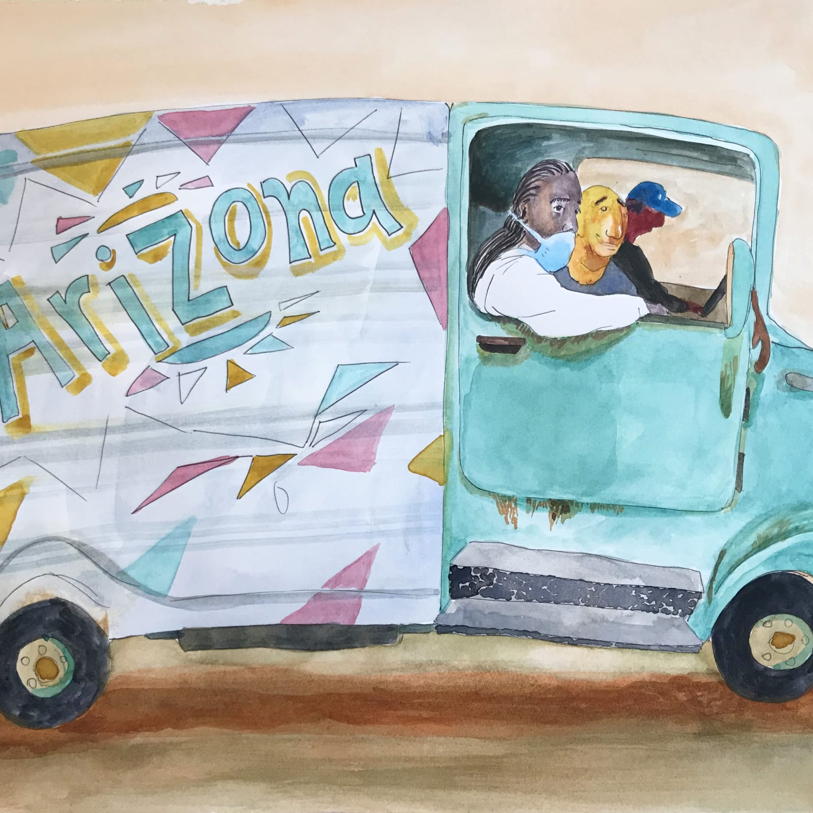 Maggie Ellis  Arizona Tea Truck, 2020  Watercolor on paper  10 x 14 in (25.4 x 35.6 cm)