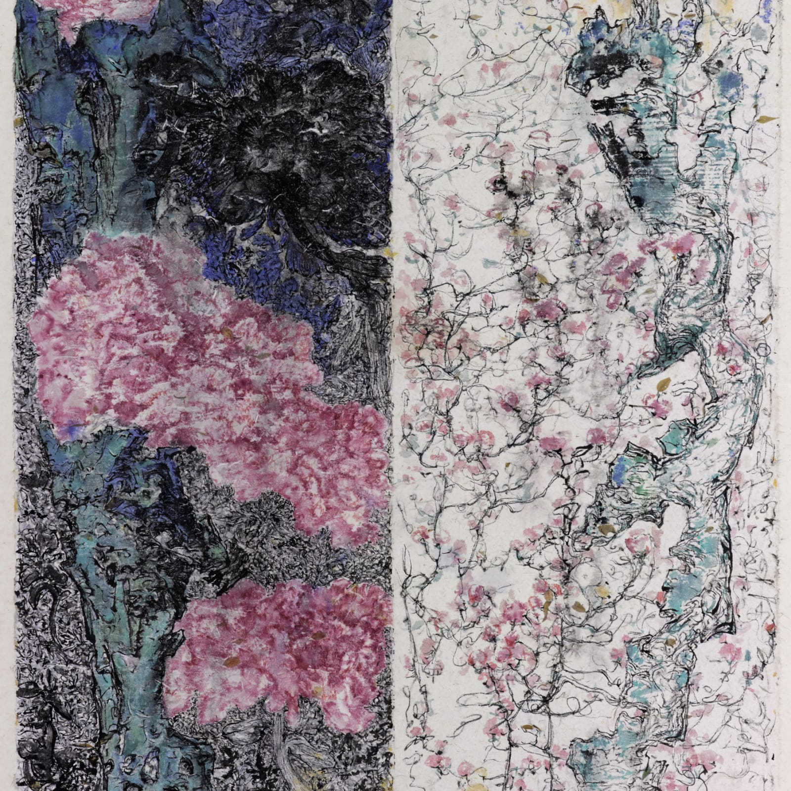 Peng Kanglong 彭康隆, Wild Garden with Peonies and Vines 乱花之牡丹与藤蔓, 2008