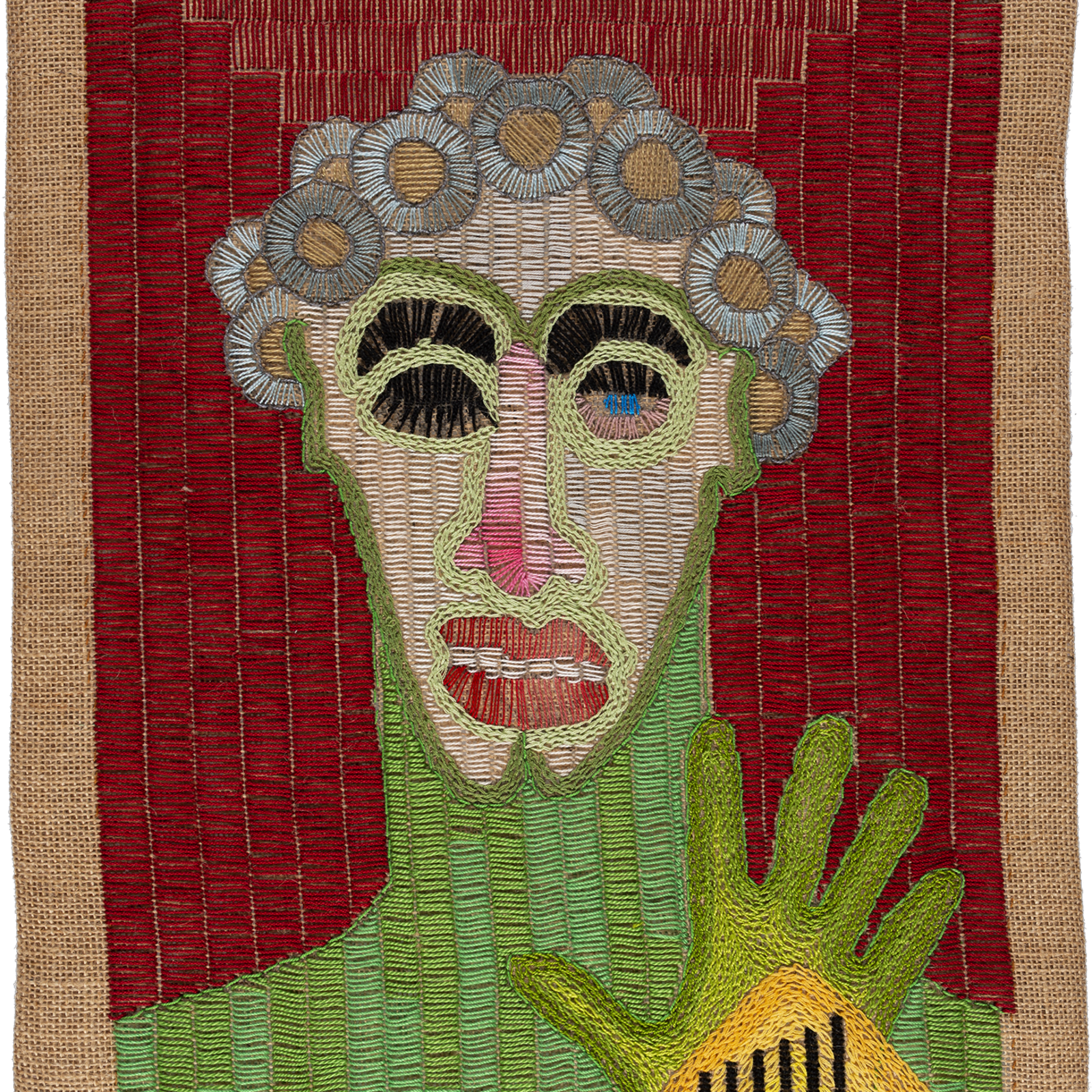 Paloma Castillo  El Olimpo I, 2020  Hand embroidery with cotton threads on jute  52 x 39 cm