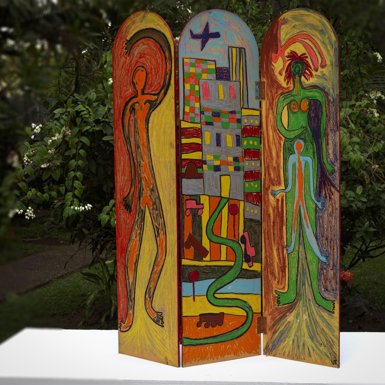 Véronique Tadjo  Cycle de vie , 2002  Oil on wood  123 x 104 cm  48 3/8 x 41 in
