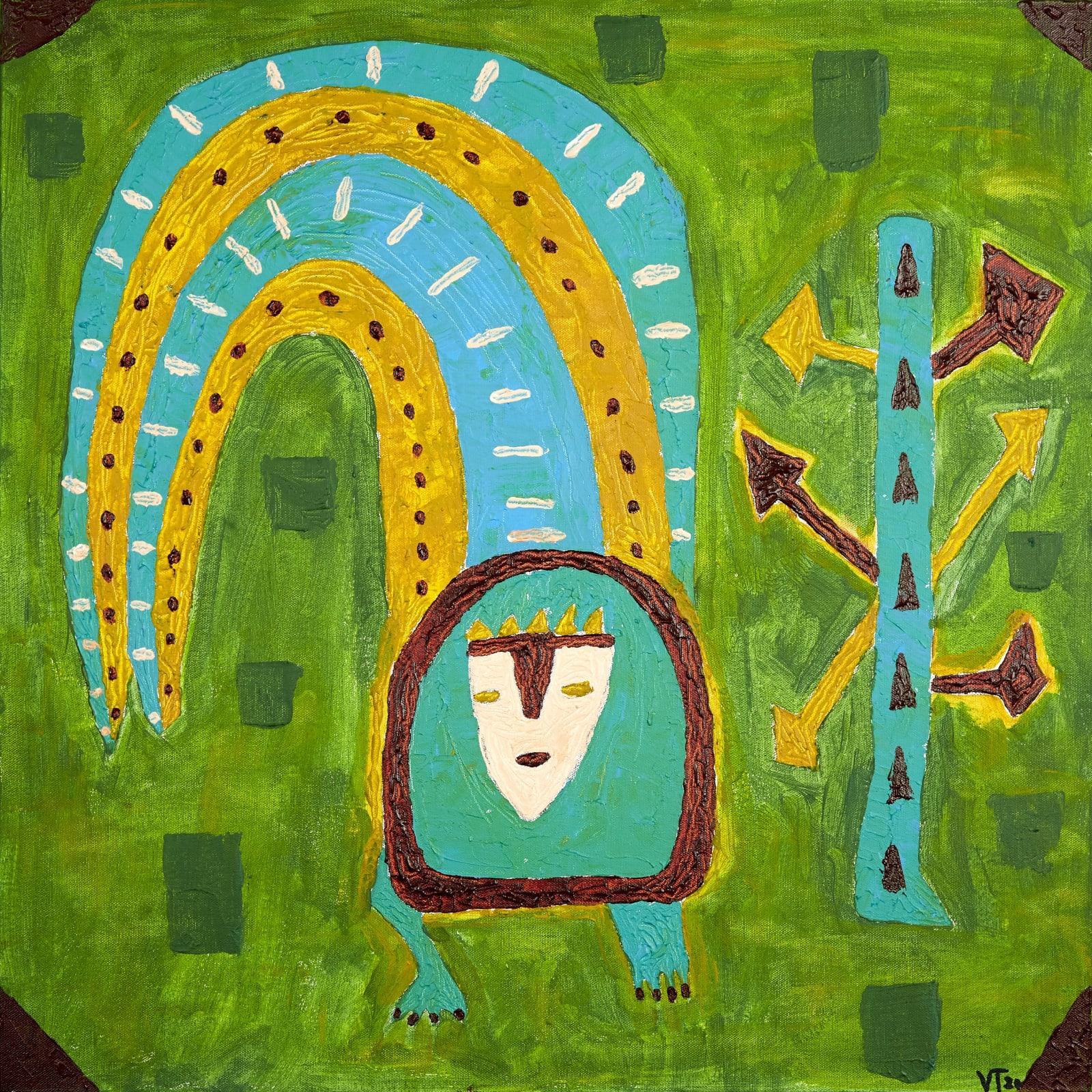Véronique Tadjo  Gardien de l'eau 1, 2020  Acrylic on canvas  60 x 60 cm  23 5/8 x 23 5/8 in