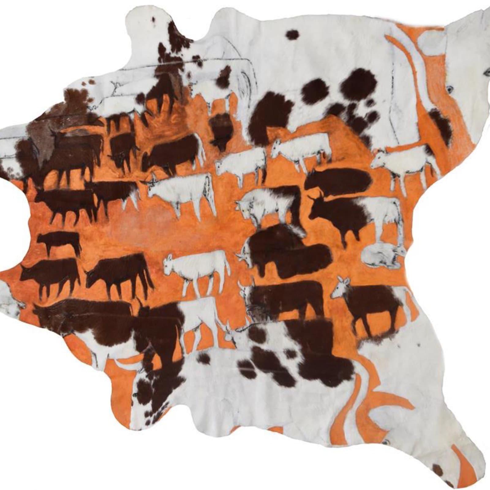 Mervyn Street  Short Horn Cow Hide, 2019  Acrylic paint on carved cow hide  210 x 190 cm