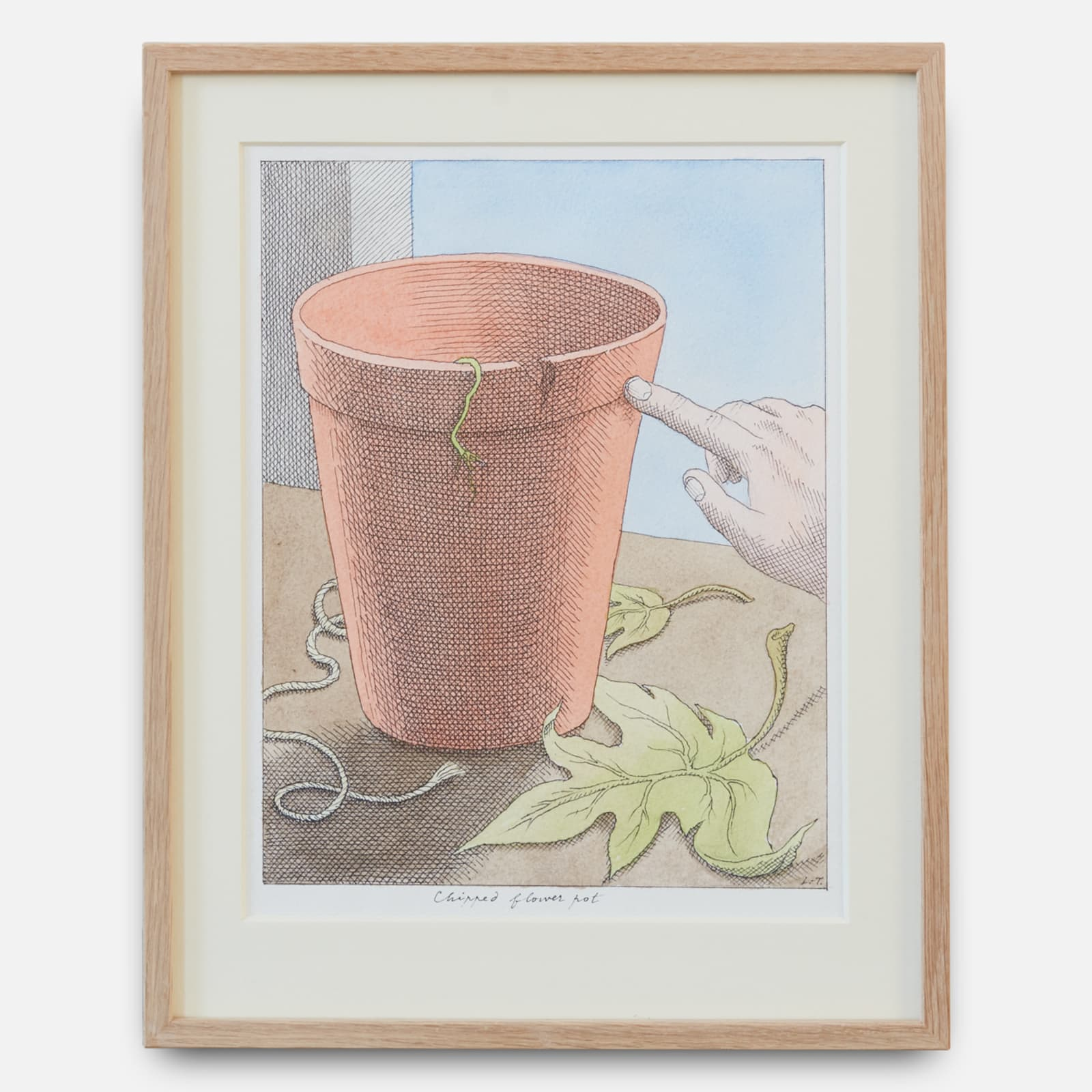 Pierre Le-Tan  Chipped Flower Pot, 2019  Ink and watercolour on paper  Framed: 36 x 28 cm