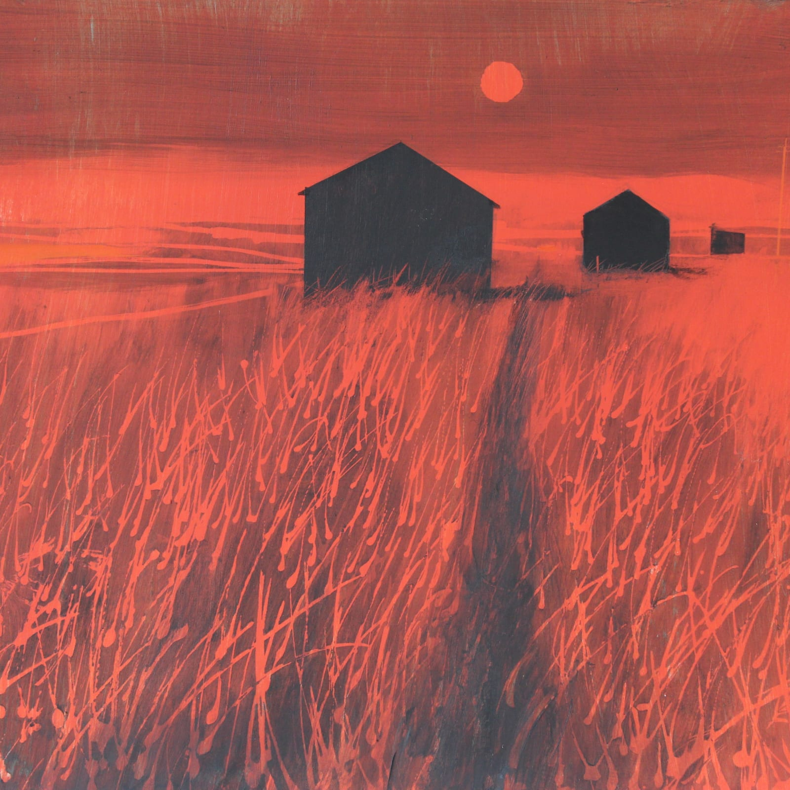 Alasdair Lindsay, Fishermen's Huts and Estuary, Sunset, 2019