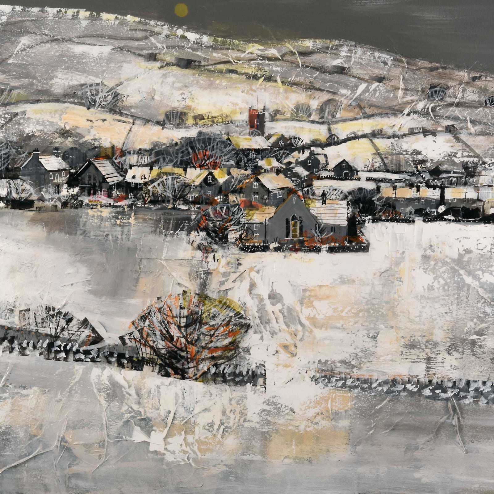 Mike Bernard  HEBDEN IN THE SNOW  Mixed Media  28 x 36 in. 71.12 x 91.44 cm