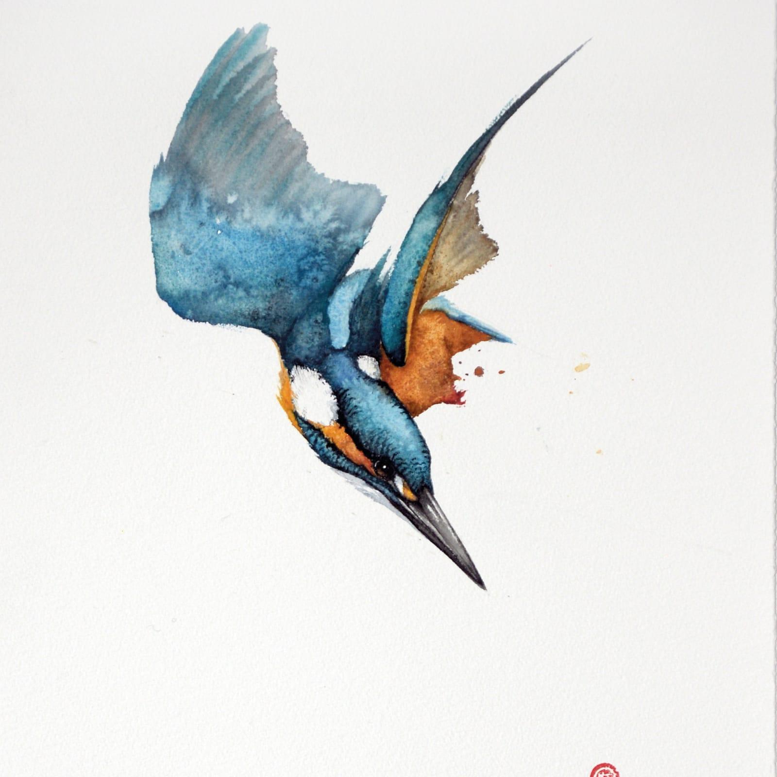 Karl Martens  KINGFISHER 2 (UNFRAMED)  Watercolour  53 x 38 cm  20 7/8 x 15 in