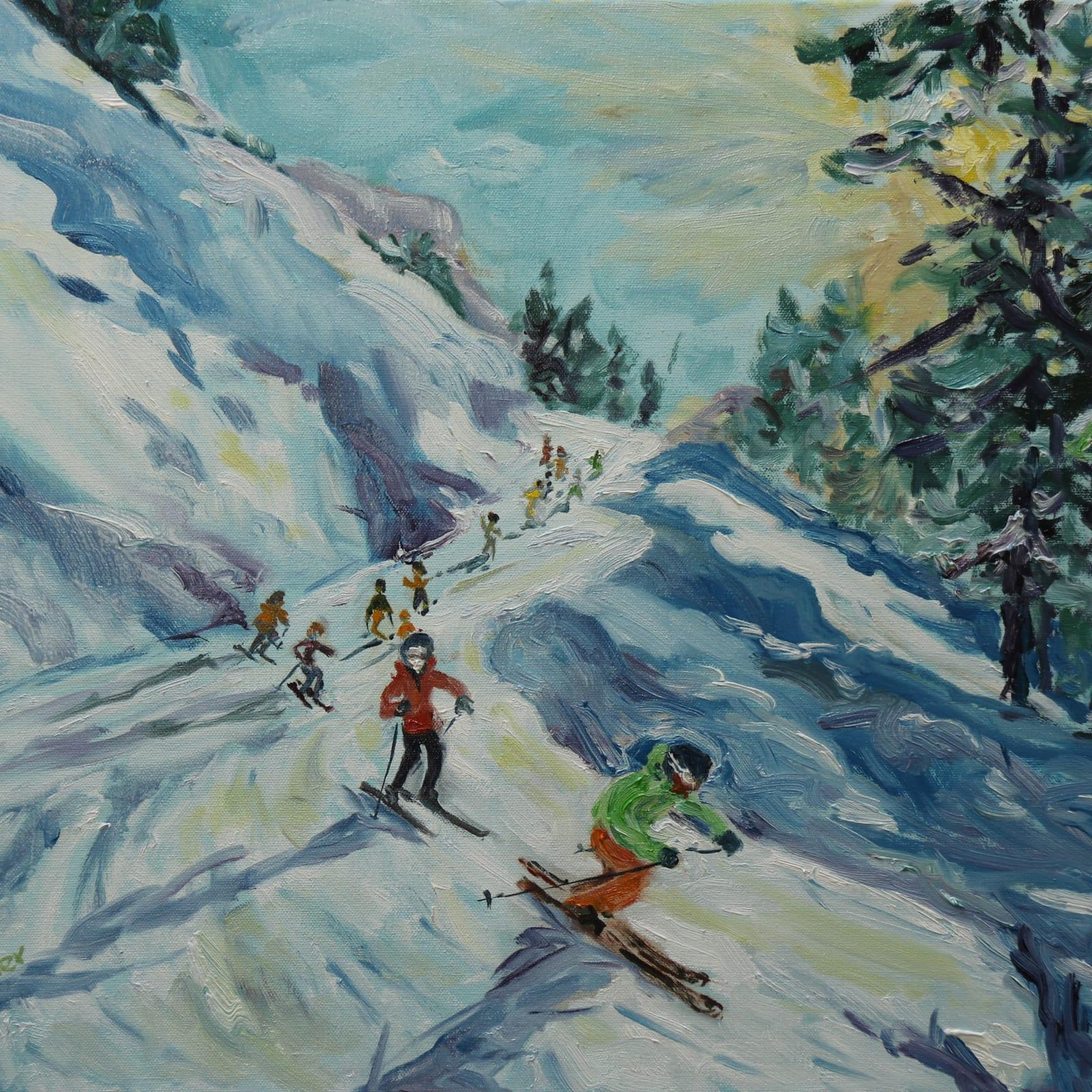 Fi Katzler  LAST RUN HOME  Oil on canvas  18 x 22 in. 45.72 x 55.88 cm