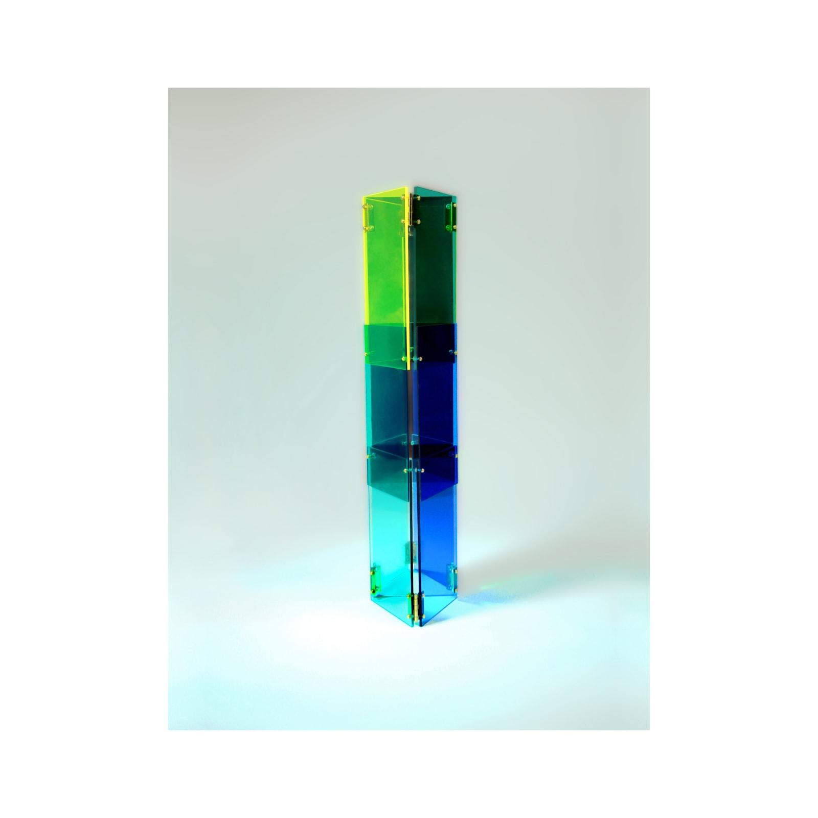 Anne Katrine Senstad  Babel 02, 2020  Lucite/Plexiglas, mirrors, brass door hinges, brass screws, bolts and washers  30 x 7 x 8 in  76.2 x 17.8 x 20.3 cm  Series: Circle of Babel