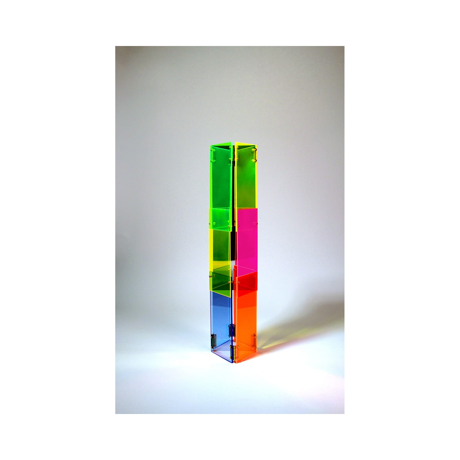 Anne Katrine Senstad  Babel 01, 2020  Lucite/Plexiglas, mirrors, brass door hinges, brass screws, bolts and washers  30 x 7 x 8 in  76.2 x 17.8 x 20.3 cm  Series: Circle of Babel