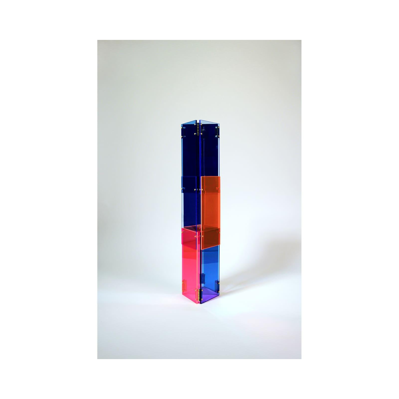 Anne Katrine Senstad  Babel 03, 2020  Lucite/Plexiglas, mirrors, brass door hinges, brass screws, bolts and washers  30 x 7 x 8 in  76.2 x 17.8 x 20.3 cm  Series: Circle of Babel