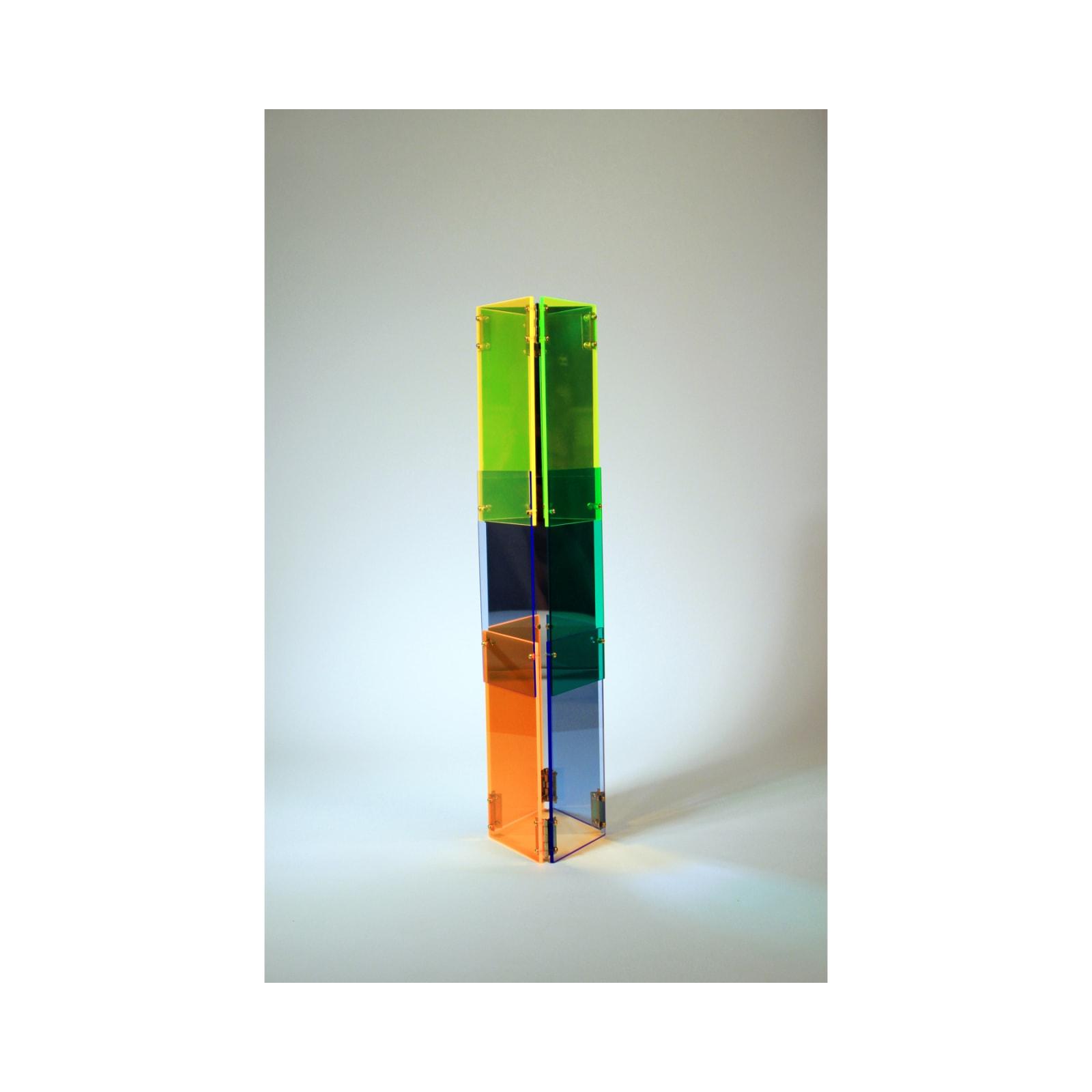 Anne Katrine Senstad  Babel 04, 2020  Lucite/Plexiglas, mirrors, brass door hinges, brass screws, bolts and washers  30 x 7 x 8 in  76.2 x 17.8 x 20.3 cm  Series: Circle of Babel