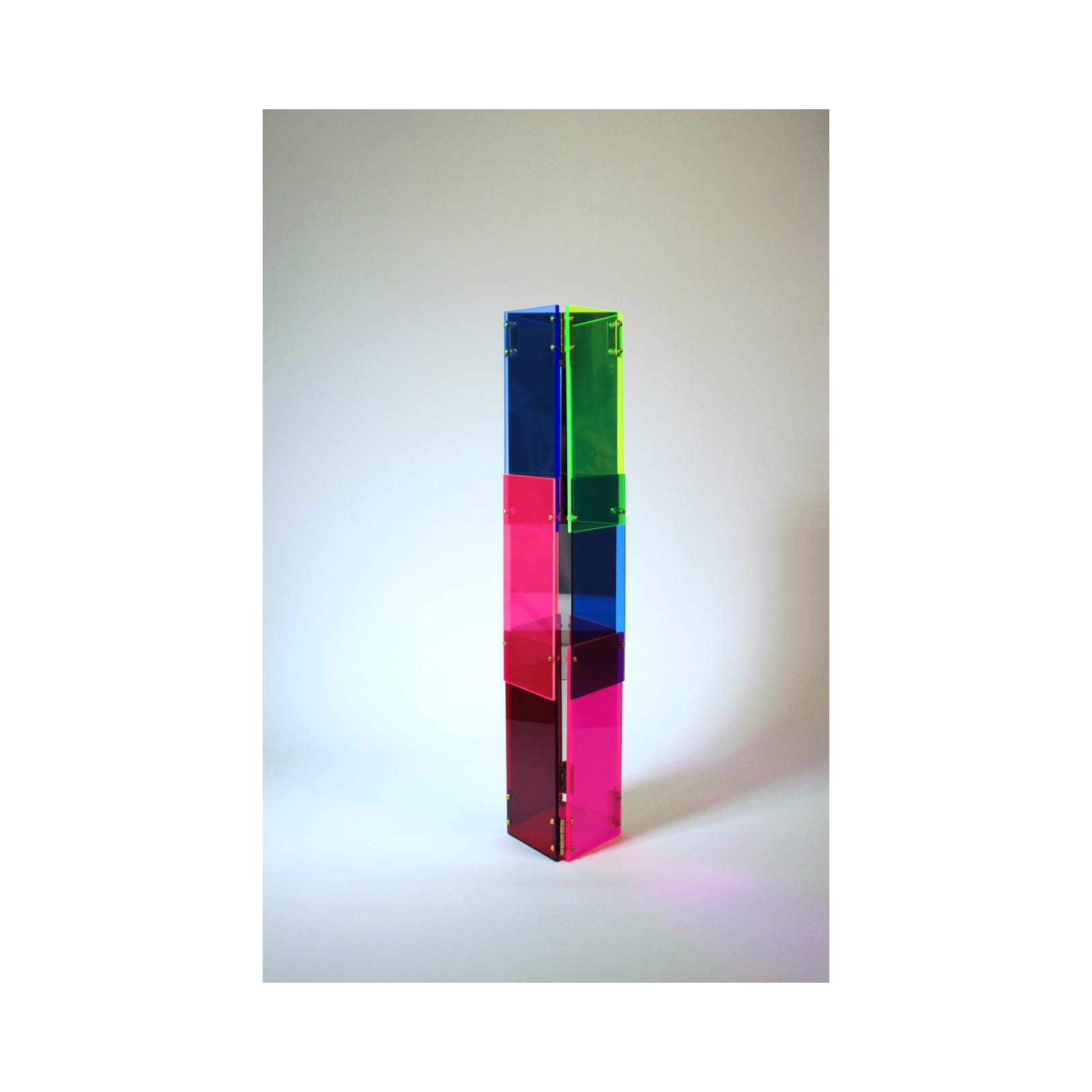 Anne Katrine Senstad  Babel 05, 2020  Lucite/Plexiglas, mirrors, brass door hinges, brass screws, bolts and washers  30 x 7 x 8 in  76.2 x 17.8 x 20.3 cm  Series: Circle of Babel