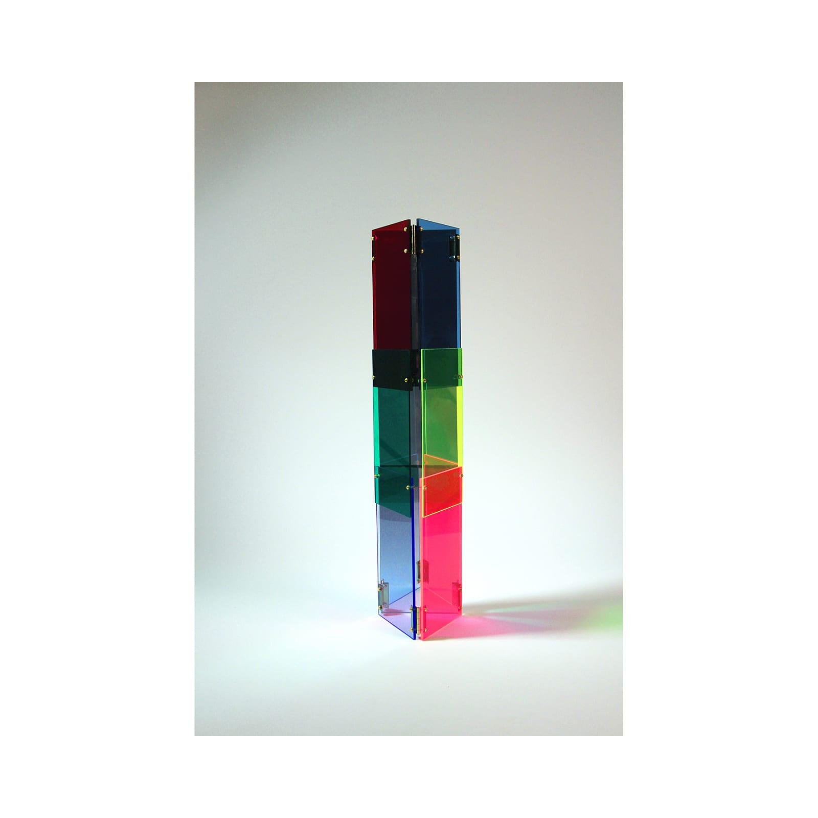 Anne Katrine Senstad  Babel 06, 2020  Lucite/Plexiglas, mirrors, brass door hinges, brass screws, bolts and washers  30 x 7 x 8 in  76.2 x 17.8 x 20.3 cm  Series: Circle of Babel