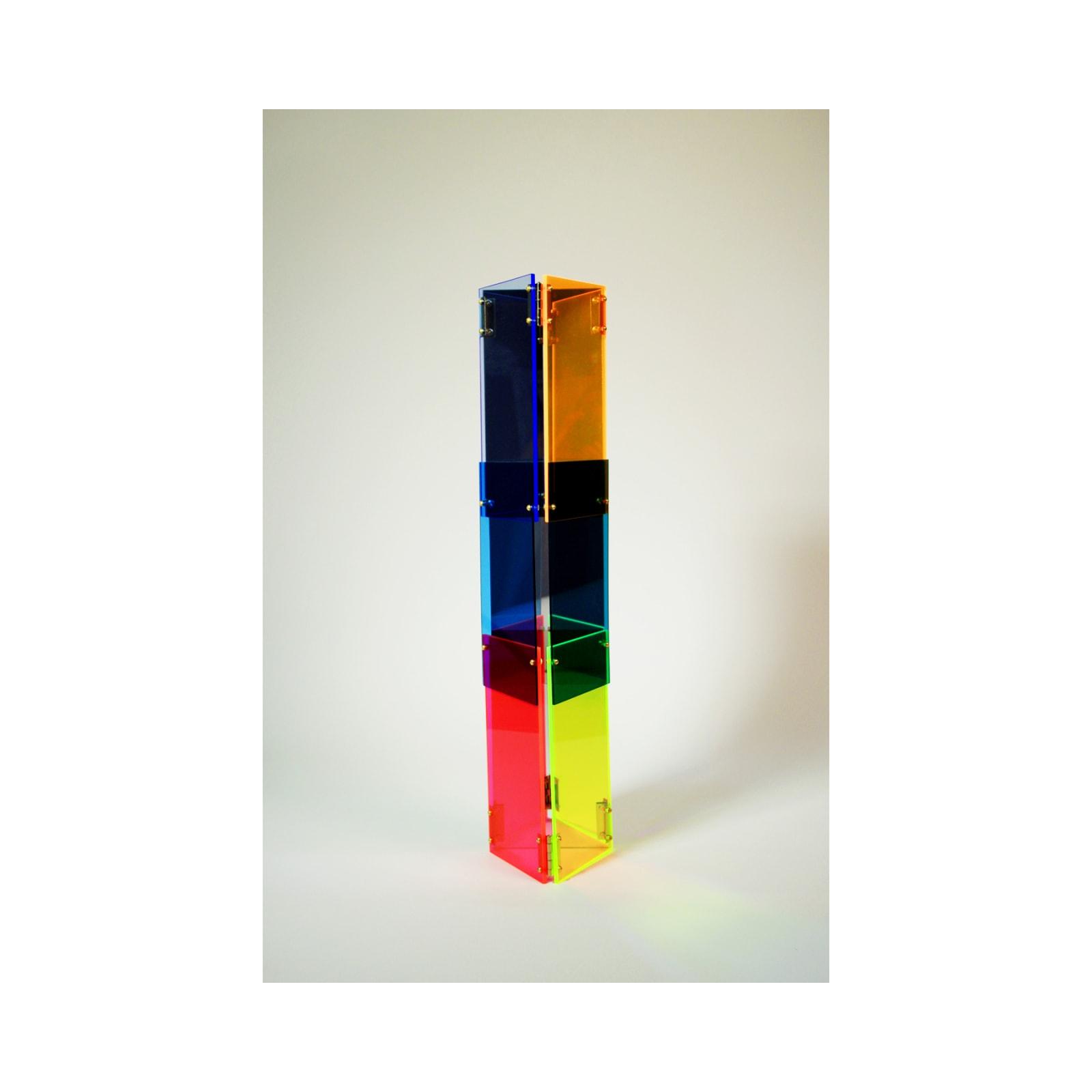 Anne Katrine Senstad  Babel 07, 2020  Lucite/Plexiglas, mirrors, brass door hinges, brass screws, bolts and washers  30 x 7 x 8 in  76.2 x 17.8 x 20.3 cm