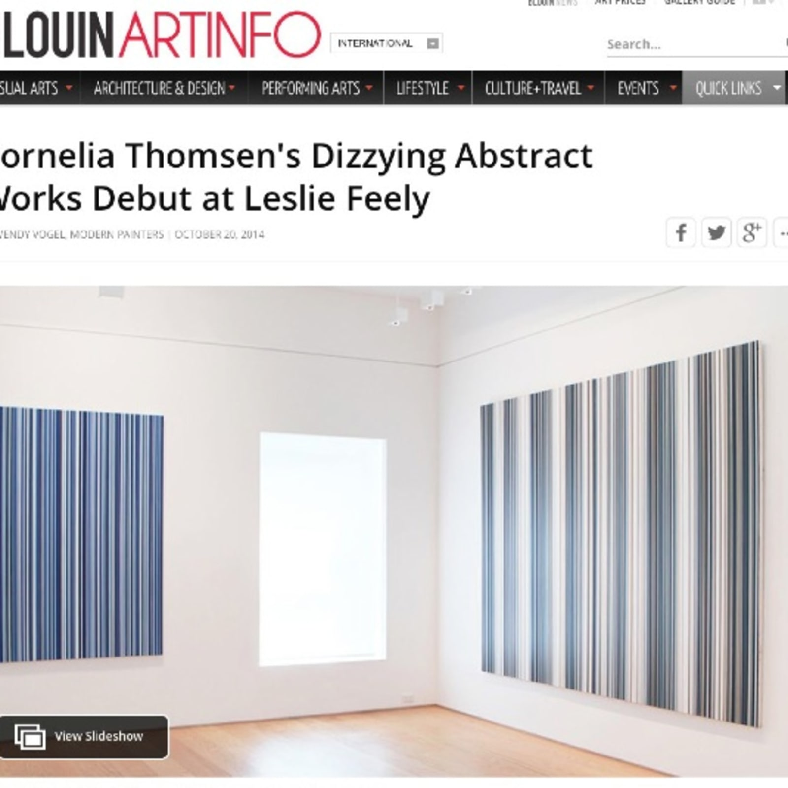 ARTINFO  review of my exhibition at Leslie Feely