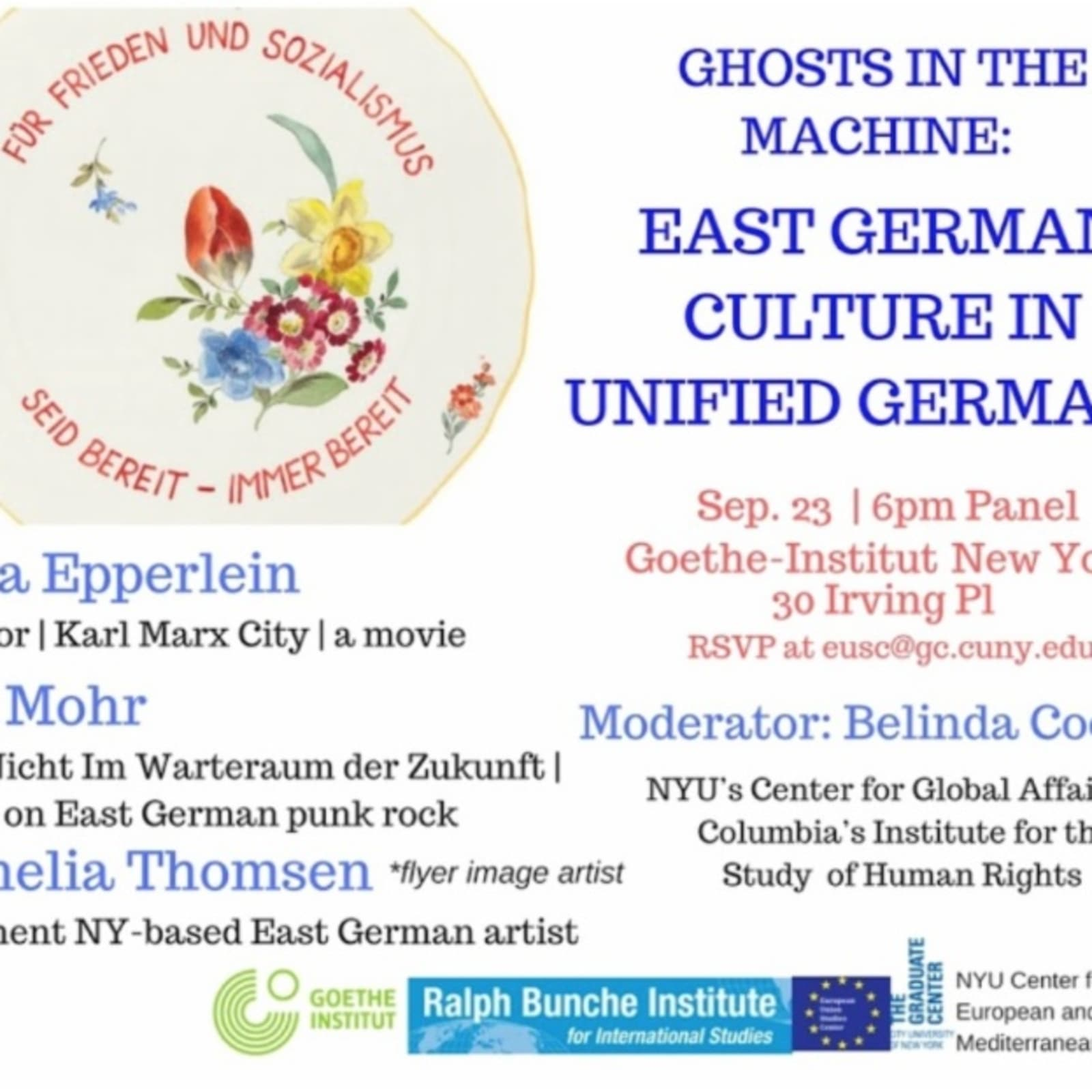 Invitation to panel discussion at the Goethe-Institut New York