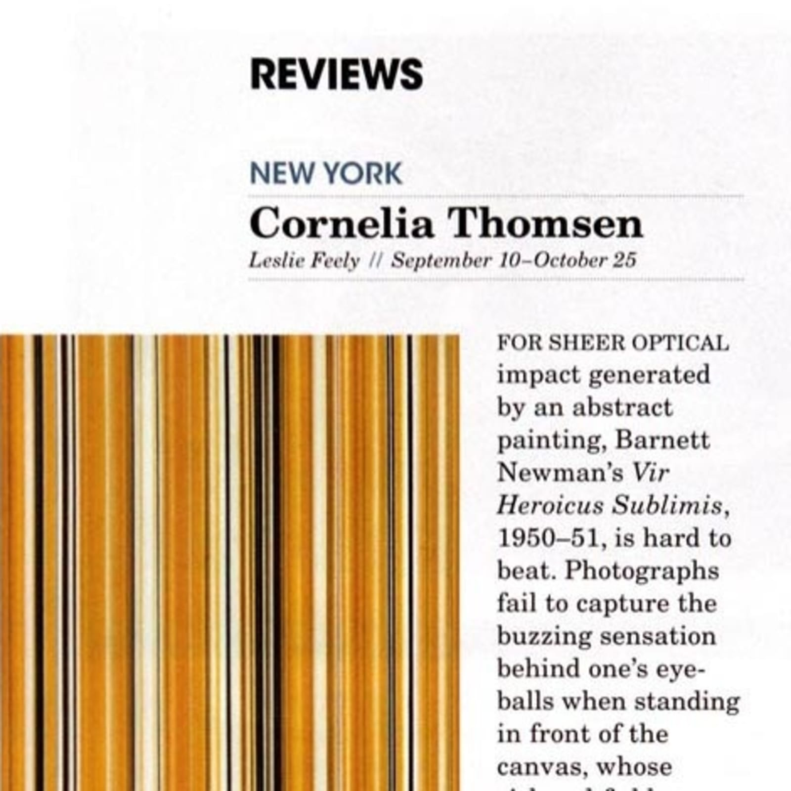 Modern Painters review of Cornelia Thomsens solo exhibition at Leslie Feely