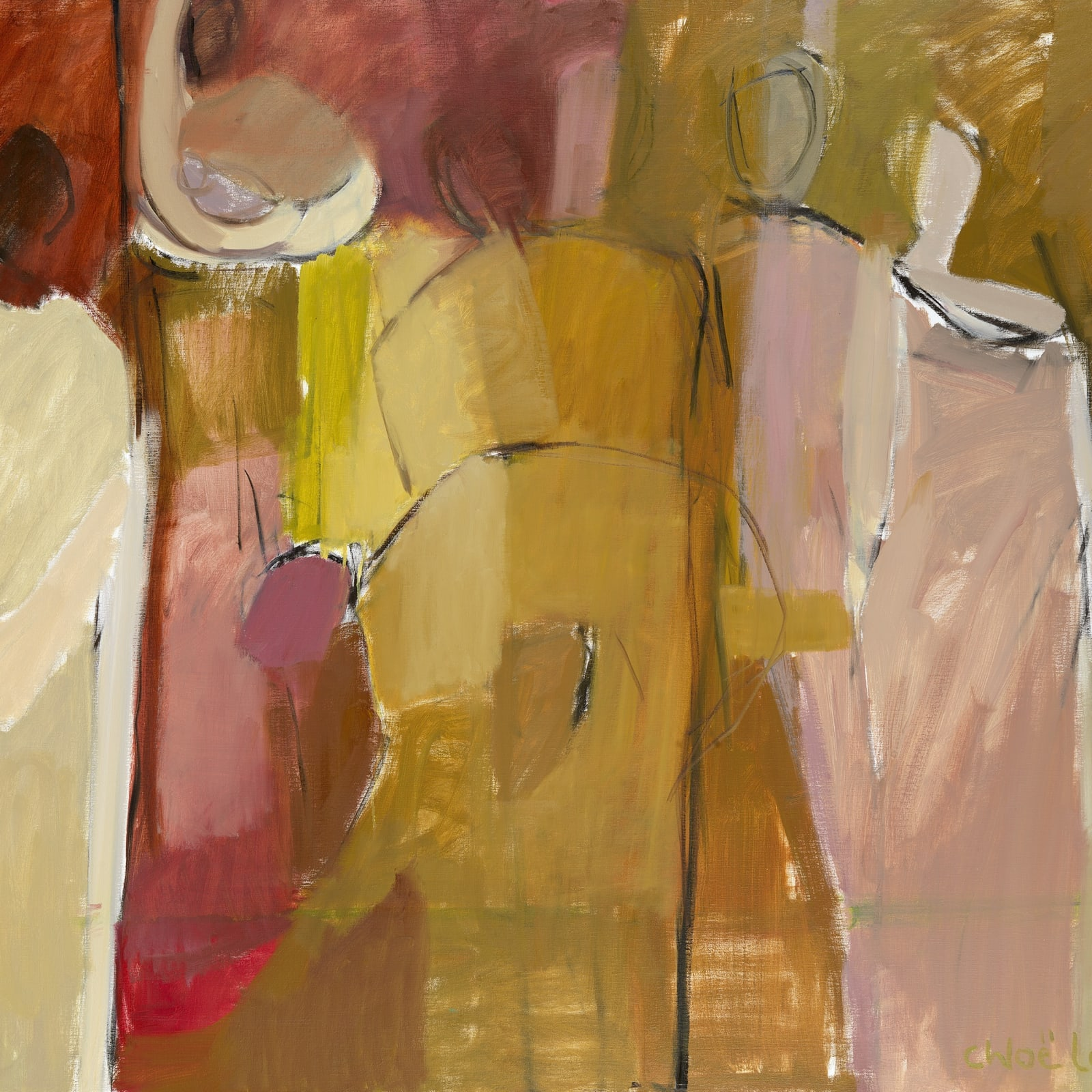 "11. Figure with Ochre and Pink, Oil, 48"" x 60"""