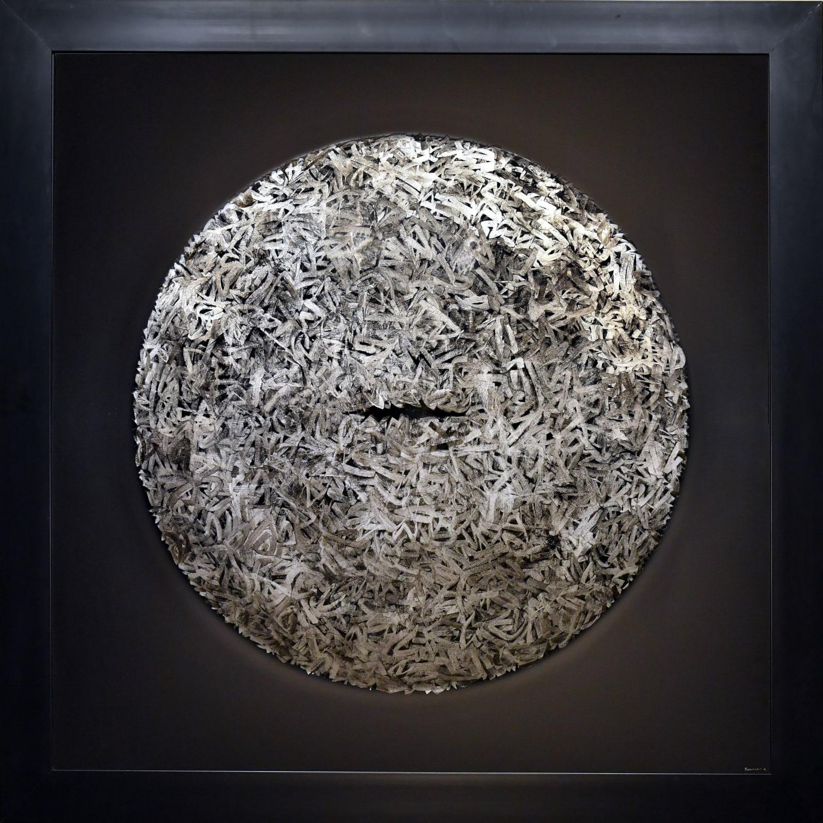 Hamza Bounoua, Exite 02, 2018, Mixed media on circular plexiglas, 145x145cm