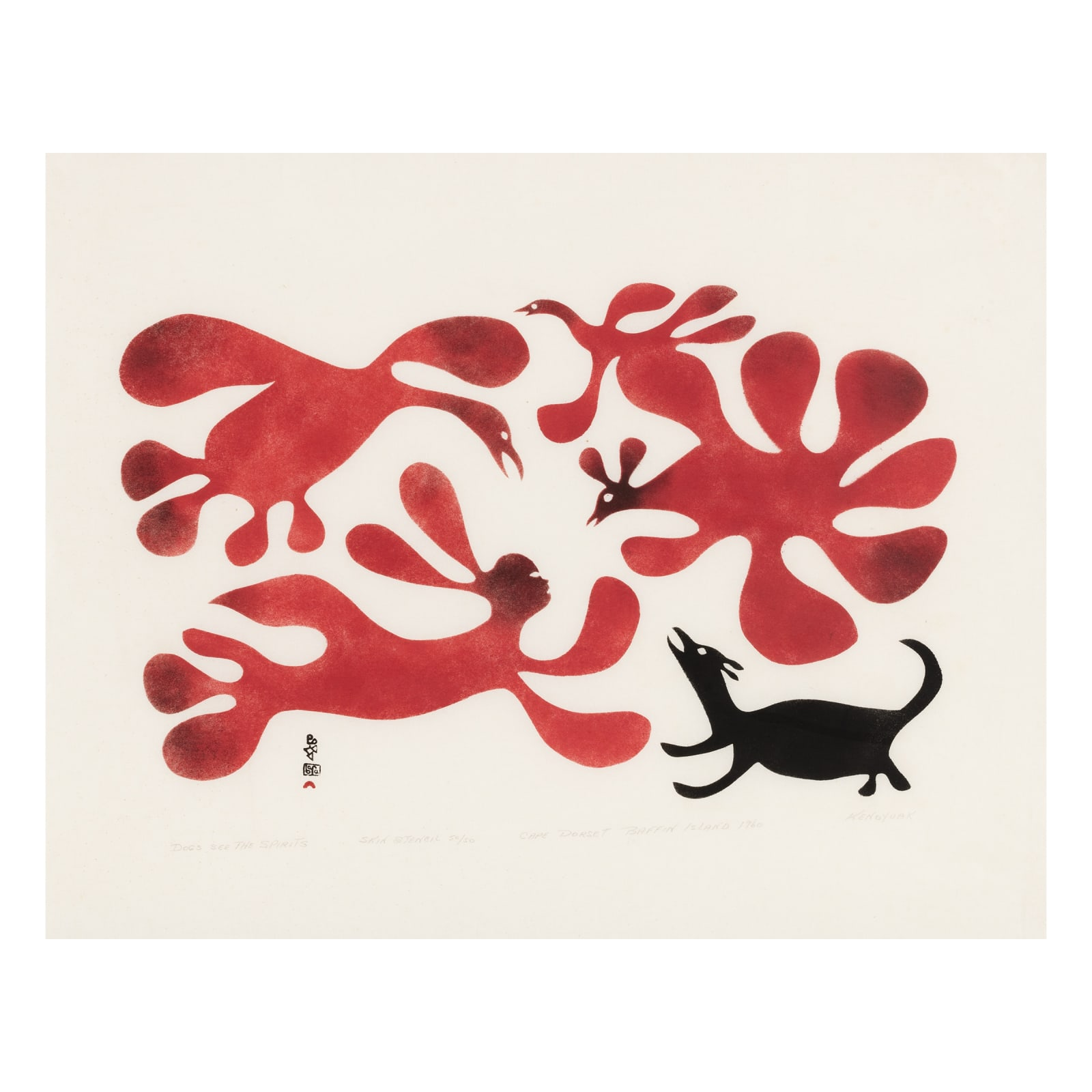 KENOJUAK ASHEVAK, C.C., R.C.A (1927-2013) KINNGAIT (CAPE DORSET)  Dogs See the Spirits, 1960  ESTIMATE: $9,000 — $12,000  PRICE REALIZED: $28,800  A WORLD RECORD PRICE FOR THIS PRINT AT AUCTION.
