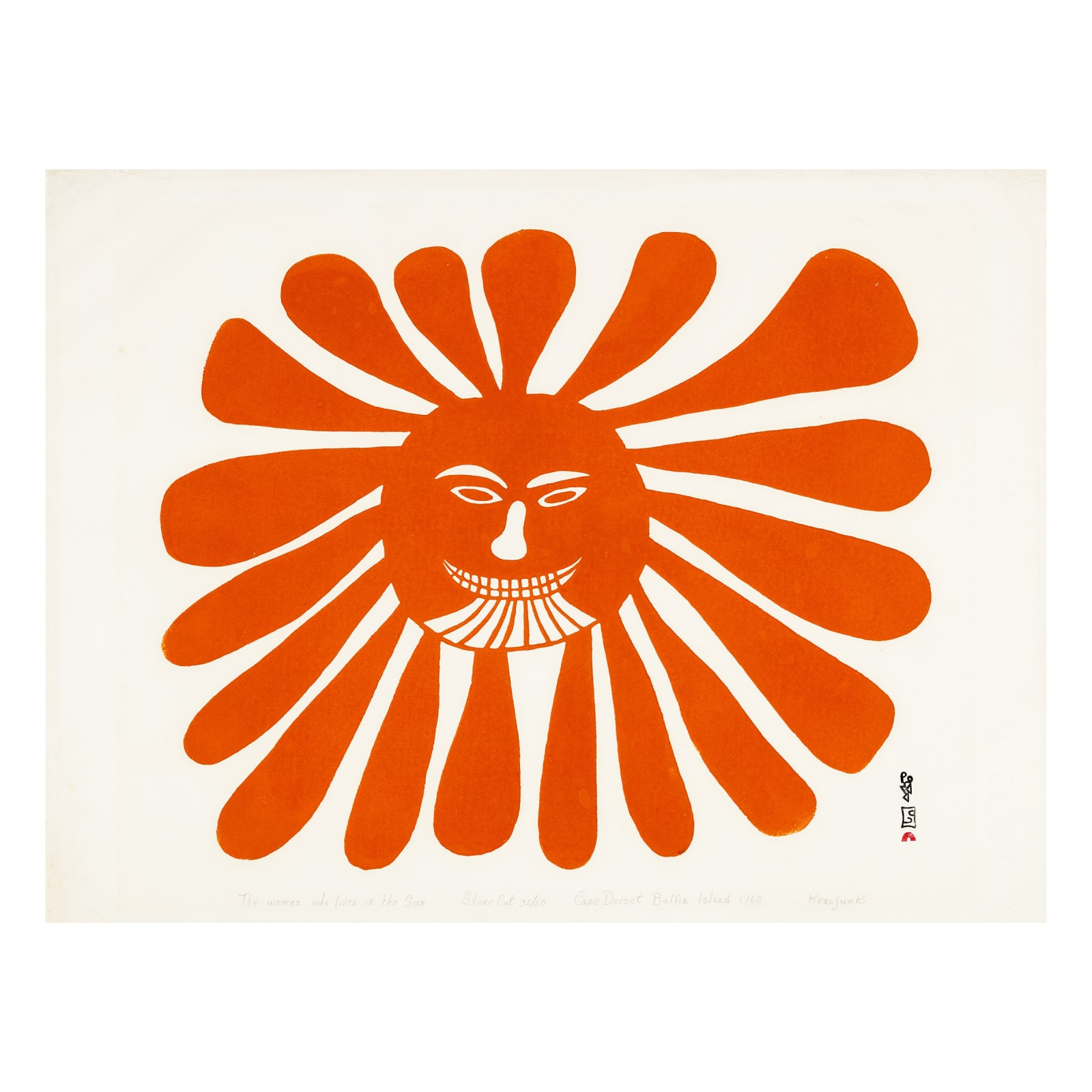 KENOJUAK ASHEVAK, C.C., R.C.A (1927-2013) KINNGAIT (CAPE DORSET)  The Woman who Lives in the Sun, 1960  ESTIMATE: $35,000 — $50,000  PRICE REALIZED: $78,000  A world record price for this print at auction.