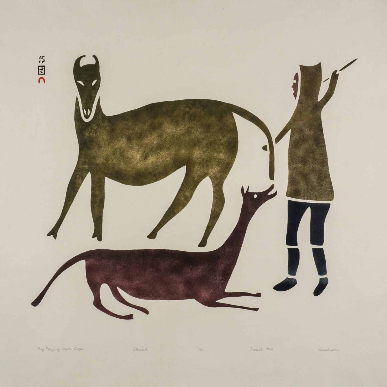 LOT 36  ELEESHUSHE PARR (1896-1975) KINNGAIT (CAPE DORSET) Boy Playing With Dogs, 1966 (2012)  stencil on Hamilton Andorra paper, 26 1/8 x 28 in (66.5 x 71 cm)  ESTIMATE: $700 - $1,000