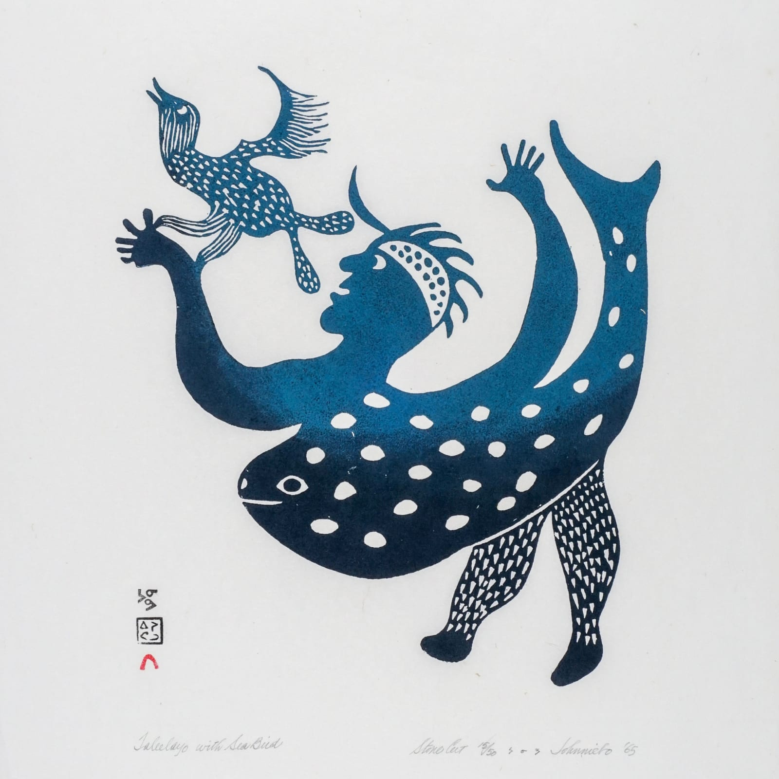 LOT 18  JOHNNIEBO ASHEVAK (1923-1972) KINNGAIT (CAPE DORSET) Taleelayo with Sea Bird, 1965 stonecut, 25 x 17 in (63.5 x 43.2 cm)  ESTIMATE: $600 — $900  PRICE REALIZED: $1,680