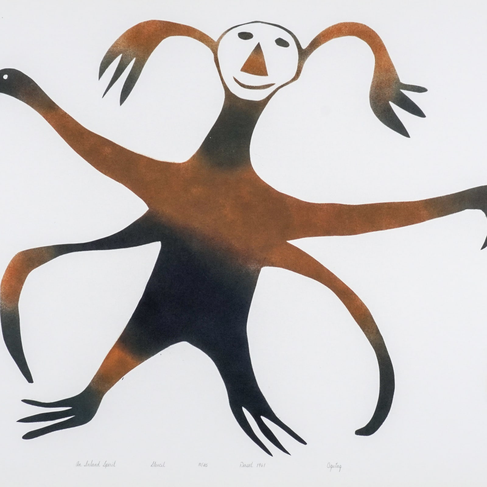 LOT 43  OHOTAQ MIKKIGAK (1936-2014) KINNGAIT (CAPE DORSET)  An Inland Spirit, 1961  stencil, 19 x 24 in (48.3 x 61 cm)  ESTIMATE: $1,000 — $1,500  price realized: $960