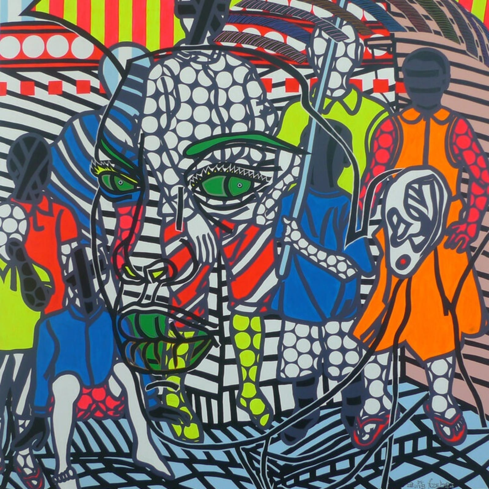 Boris Nzebo, Les Marabouts, 2019 acrylique et posca 230x200cm