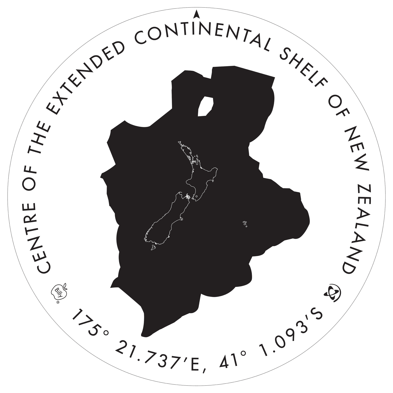 Artwork showing the outline of the underwater continent, New Zealand and the point that marks the centre