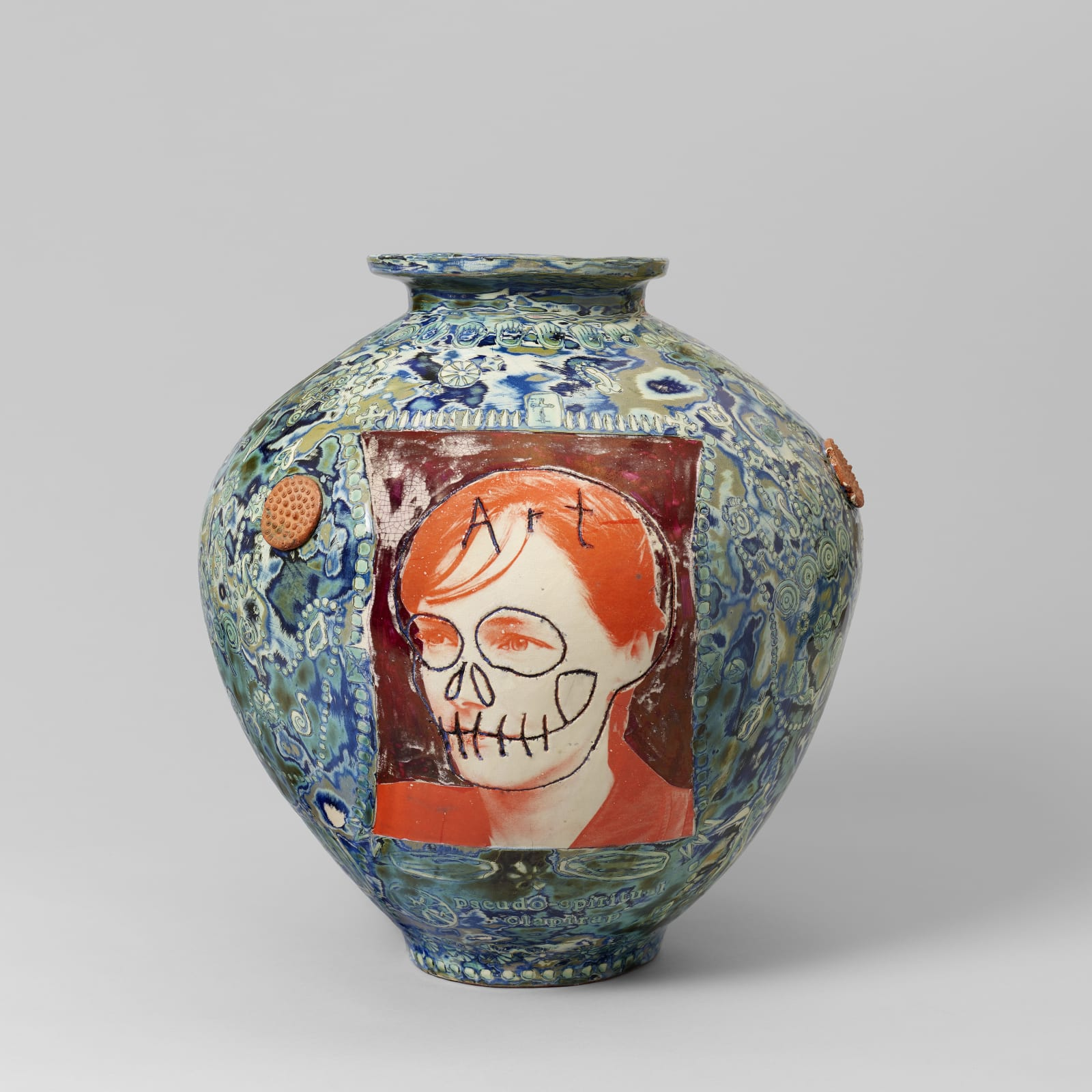 Grayson Perry  b.1960  Pseudo Spiritual Clap Trap, 1998  glazed earthenware  15 x 11 1/8 x 11 1/8 inches / 38.1 x 28.3 x 28.3 cm