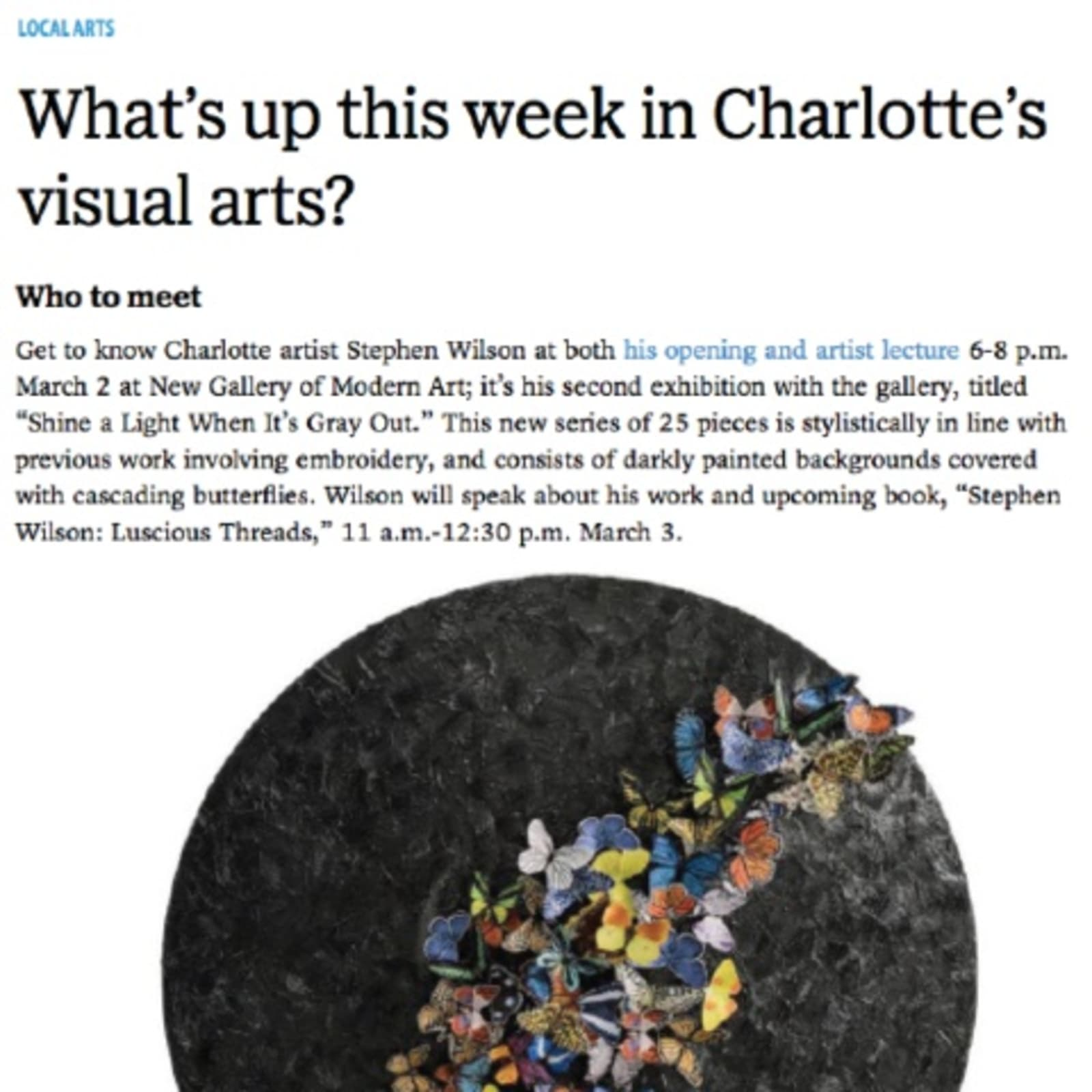 What's up this week in Charlotte's visual arts?