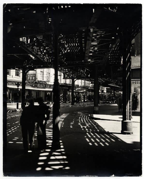 Berenice Abbott, El, Second and Third Avenue Lines: Bowery and Division Streets, Manhattan, 1936