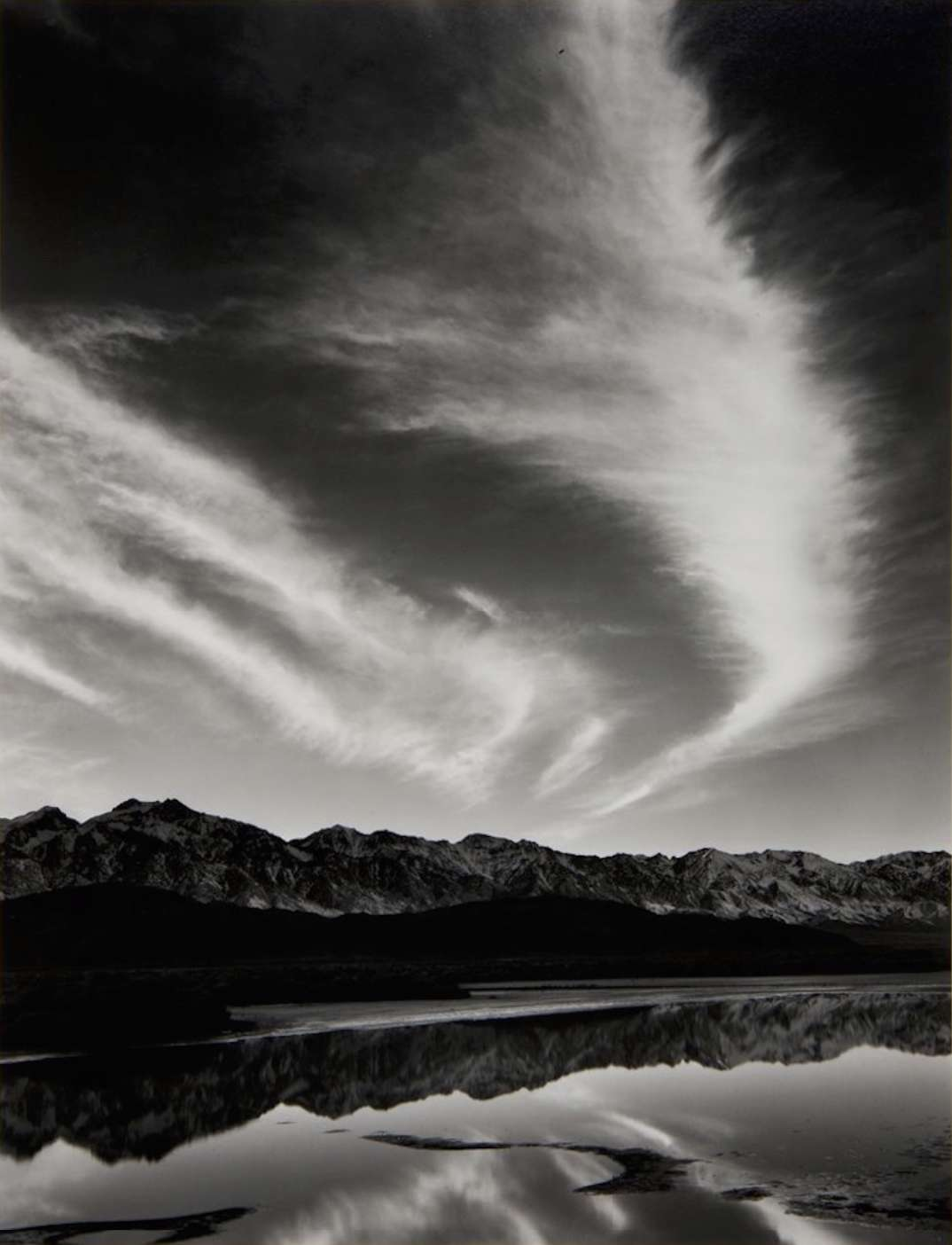 Ansel Adams, Sierra Nevada, Winter Evening, from the Owens Valley, 1962 From Portfolio Four: What Majestic Word. Print # XV. Published in 1963 by the Sierra Club San Francisco, 1962