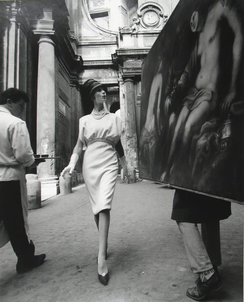 William Klein, Simone + Painting + Coffee, Rome, 1960