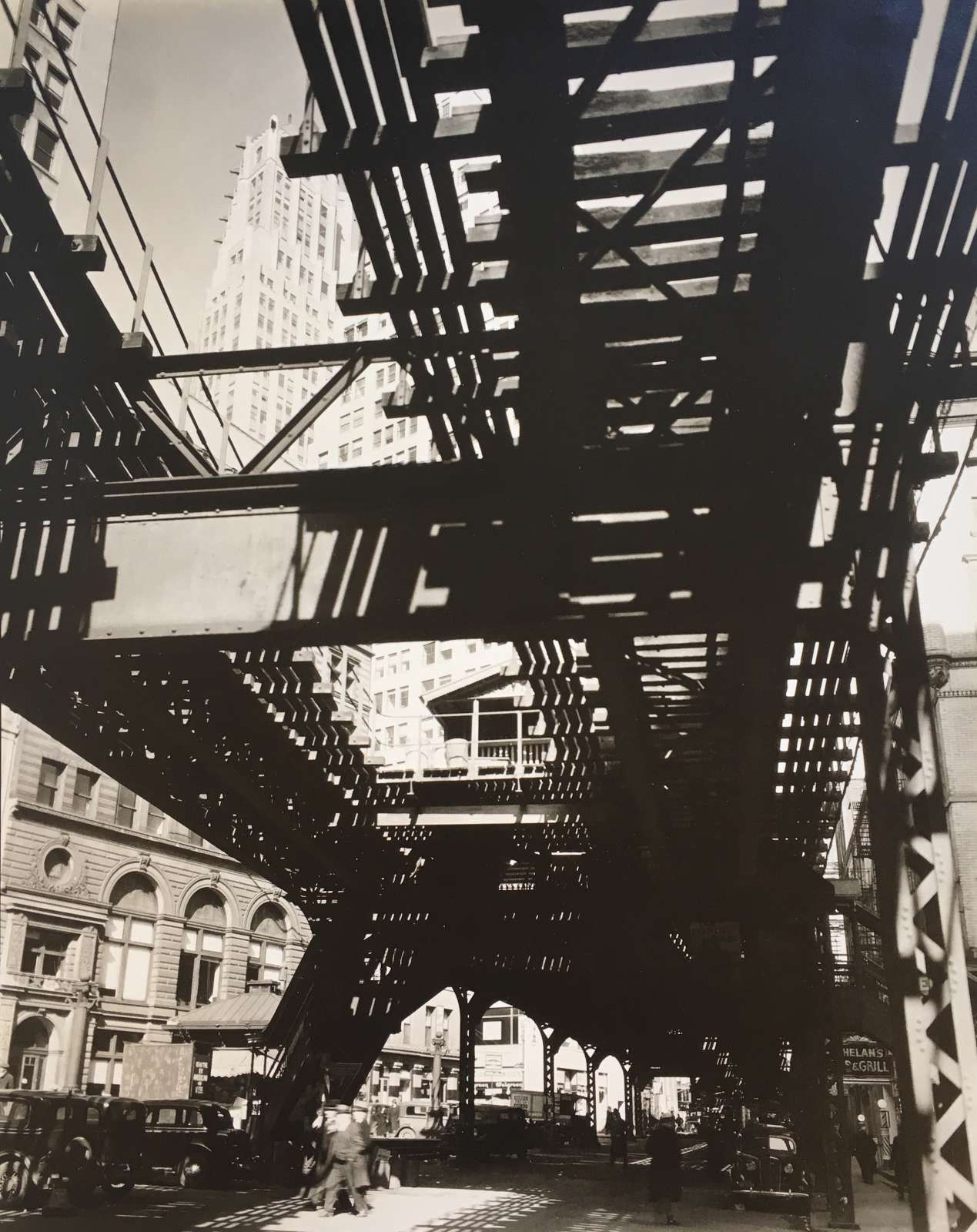 Berenice Abbott, El, Second and Third Avenue Lines, Hanover Square and Pearl Street, 1936
