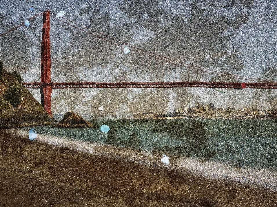 Tent Camera Image on Ground- View of the Golden Gate Bridge From Kirby Cove, 2012