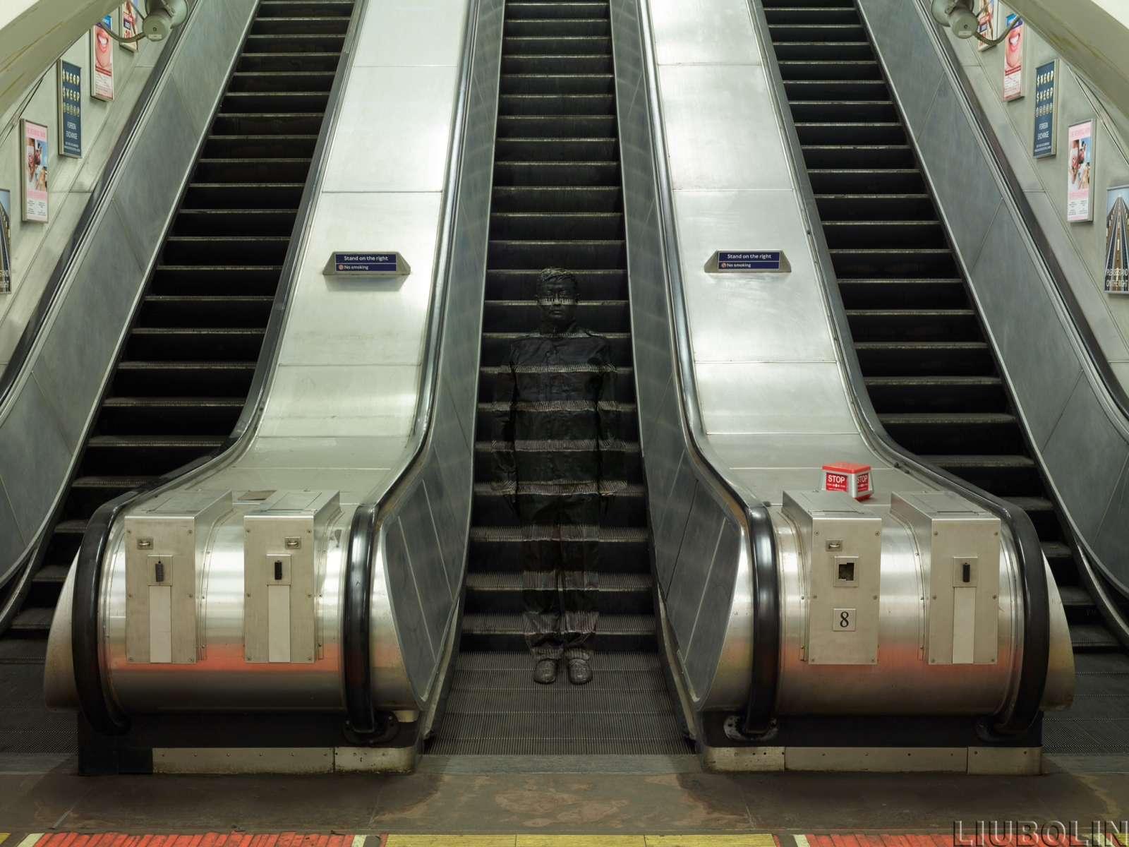Hiding in London No. 3, Underground Escalators, 2014