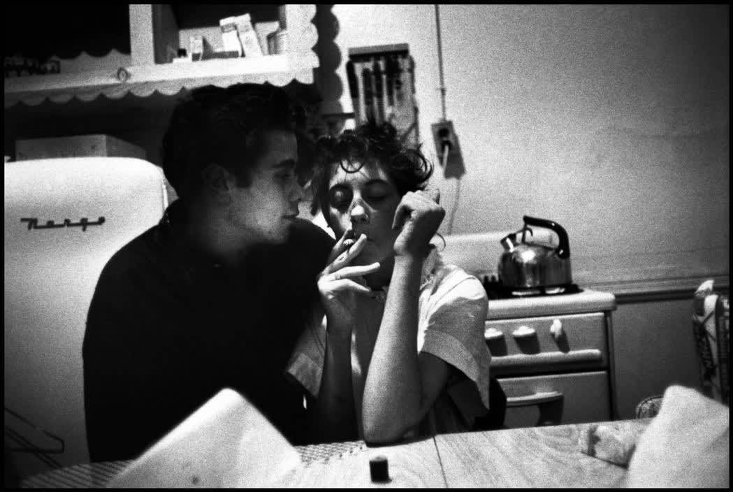 Brooklyn Gang (couple in kitchen, girl smoking), 1959