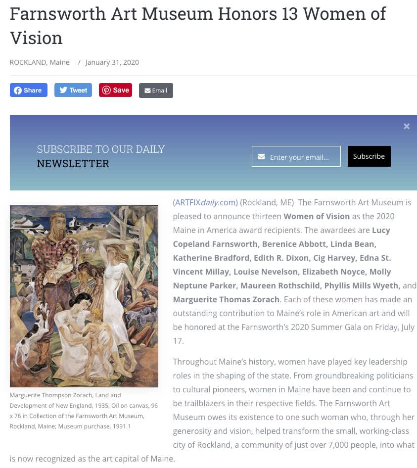 Farnsworth Art Museum Honors 13 Women of Vision