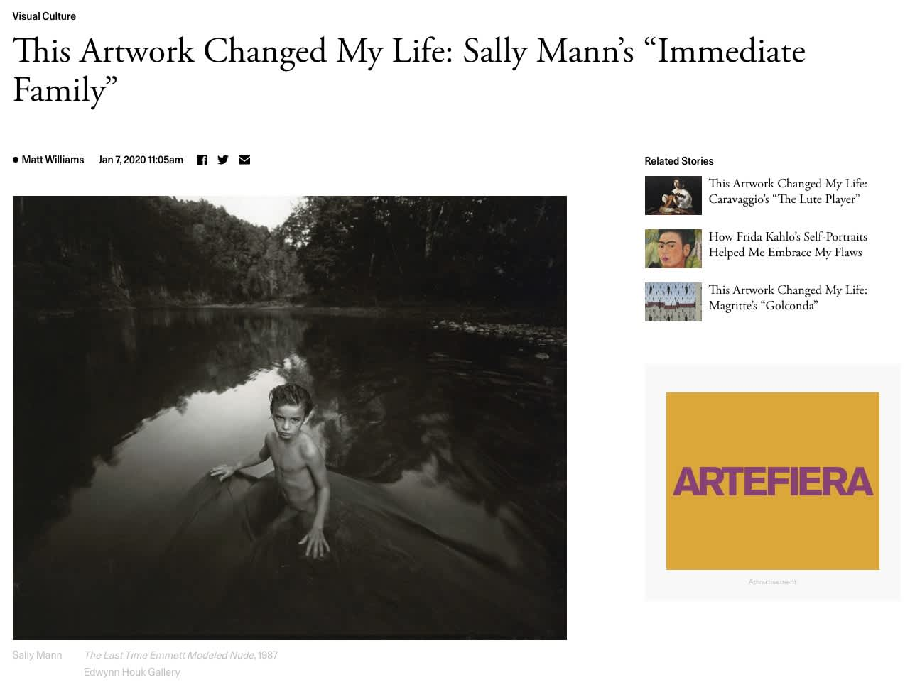 """This Artwork Changed My Life: Sally Mann's """"Immediate Family"""""""