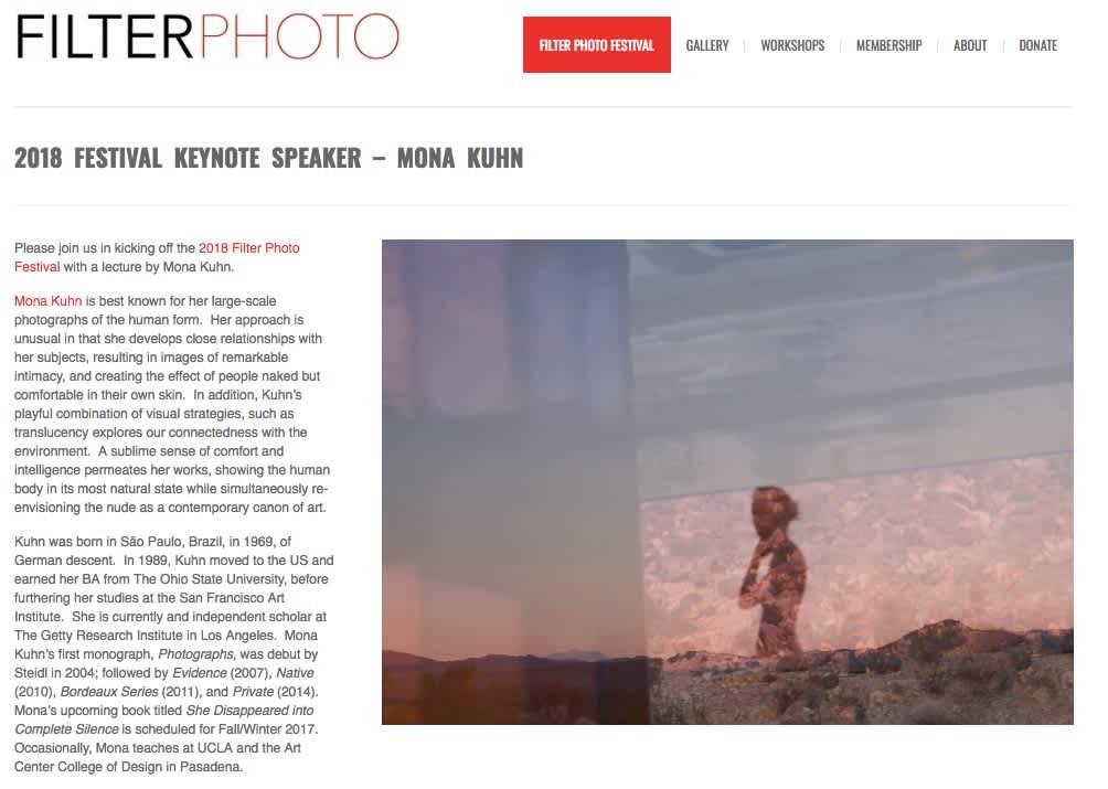 Filter Photo- 2018 Festival Keynote Speaker – Mona Kuhn