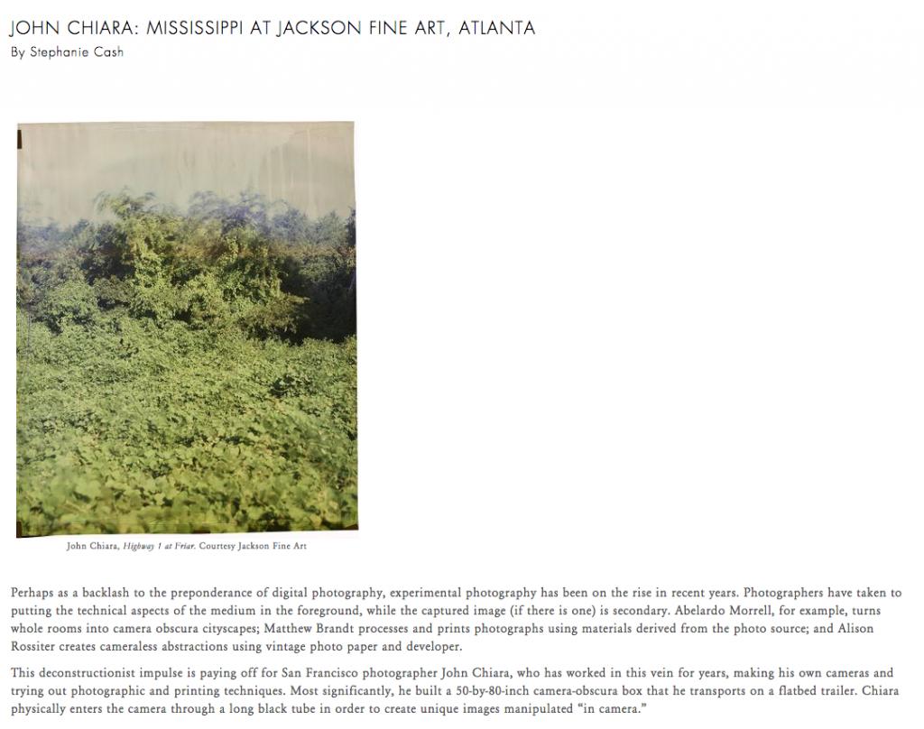 John Chiara, Mississippi Reviewed for Photograph Magazine