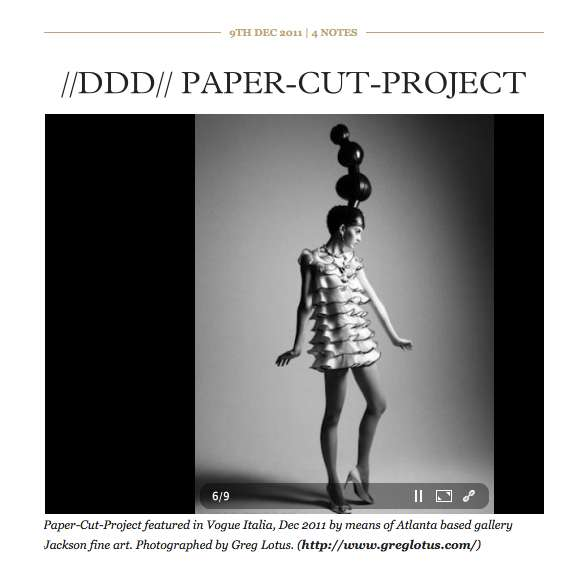Paper-Cut-Project featured in Vouge Italia