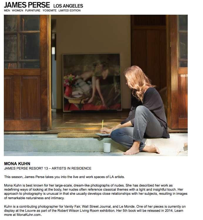 James Perse LA features Mona Kuhn