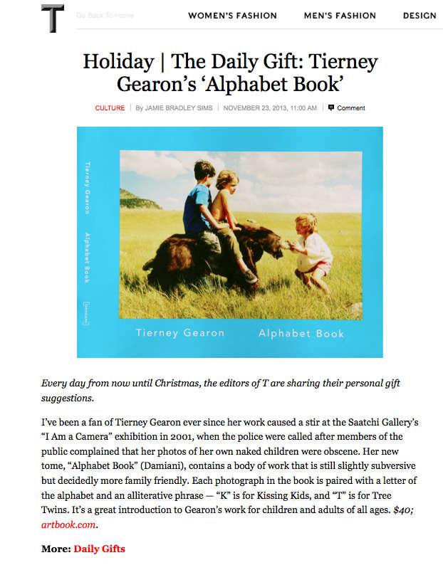 NY Times Magazine lists Tierney Gearon's