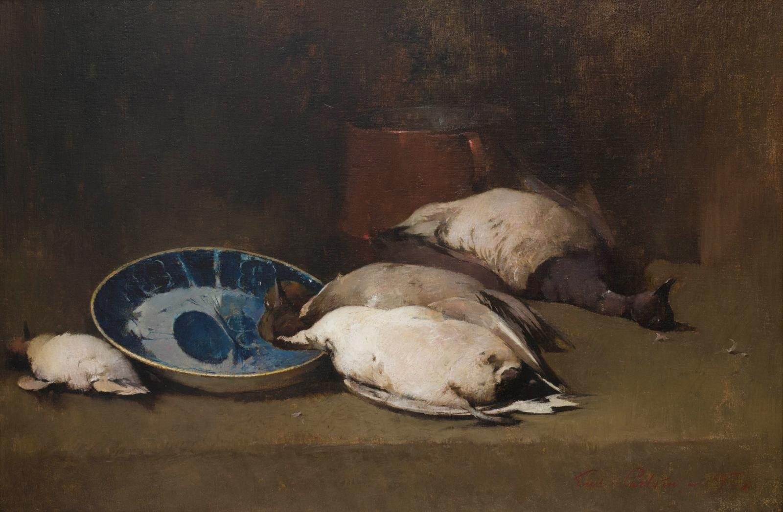 A still life with dead ducks on a table top