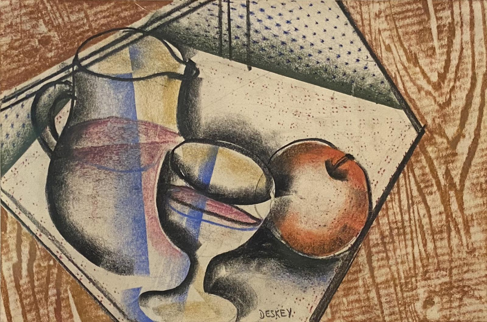 Cubist style drawing of a table top with a pitcher, apple, and glass